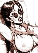 Innocent Lara Croft rides Mr. Pimms and receives spermshots