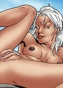 Storm is playing with her dildo